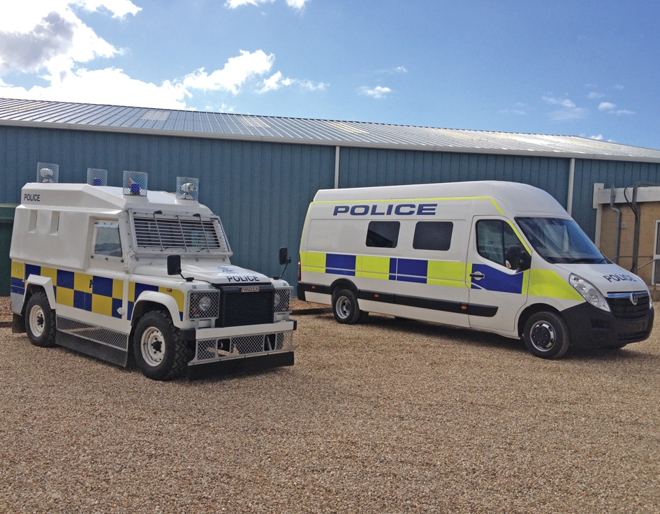 Police vehicle fitted with ARC, attack resistant