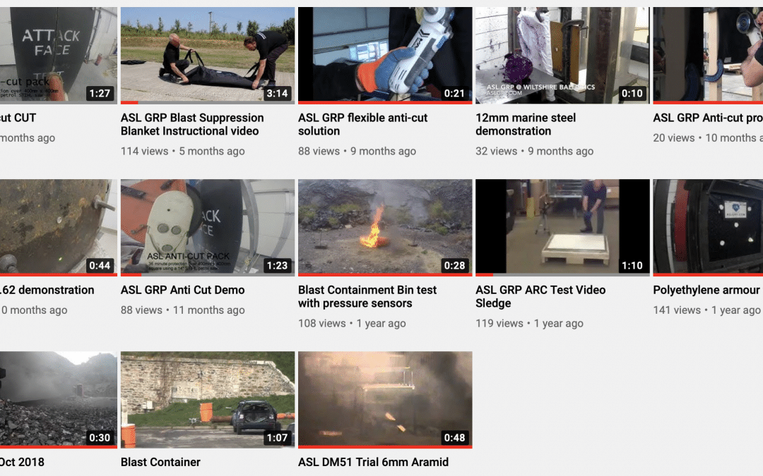 ASL GRP's Youtube channel featuring blast and ballistic testing